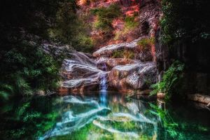 Бесплатные фото водопад,водоём,скалы,деревья,пейзаж