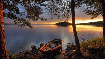 Фото бесплатно закат, пейзаж, отражение