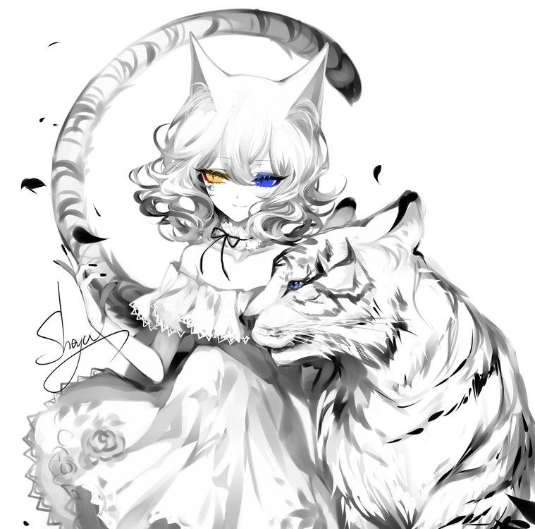 Фото бесплатно аниме девушка, тигр, черно-белое - на рабочий стол