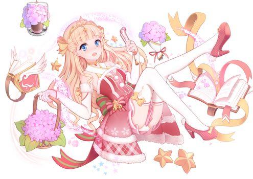 Фото бесплатно Девушка из аниме, платье, блондинка
