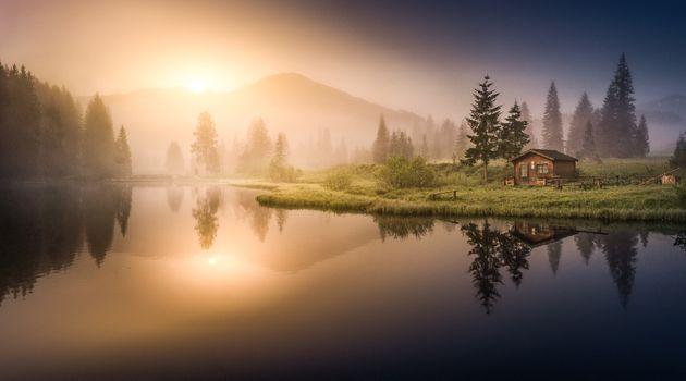 Photo free lake, sunset, sunlight