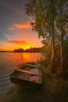 Обои Эрлихзе, штат Баден-Вюртемберг, Южная Германия, закат, озеро, лодка, деревья, пейзаж