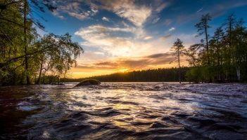 Бесплатные фото закат,река,лес,деревья,пейзаж,Финляндия