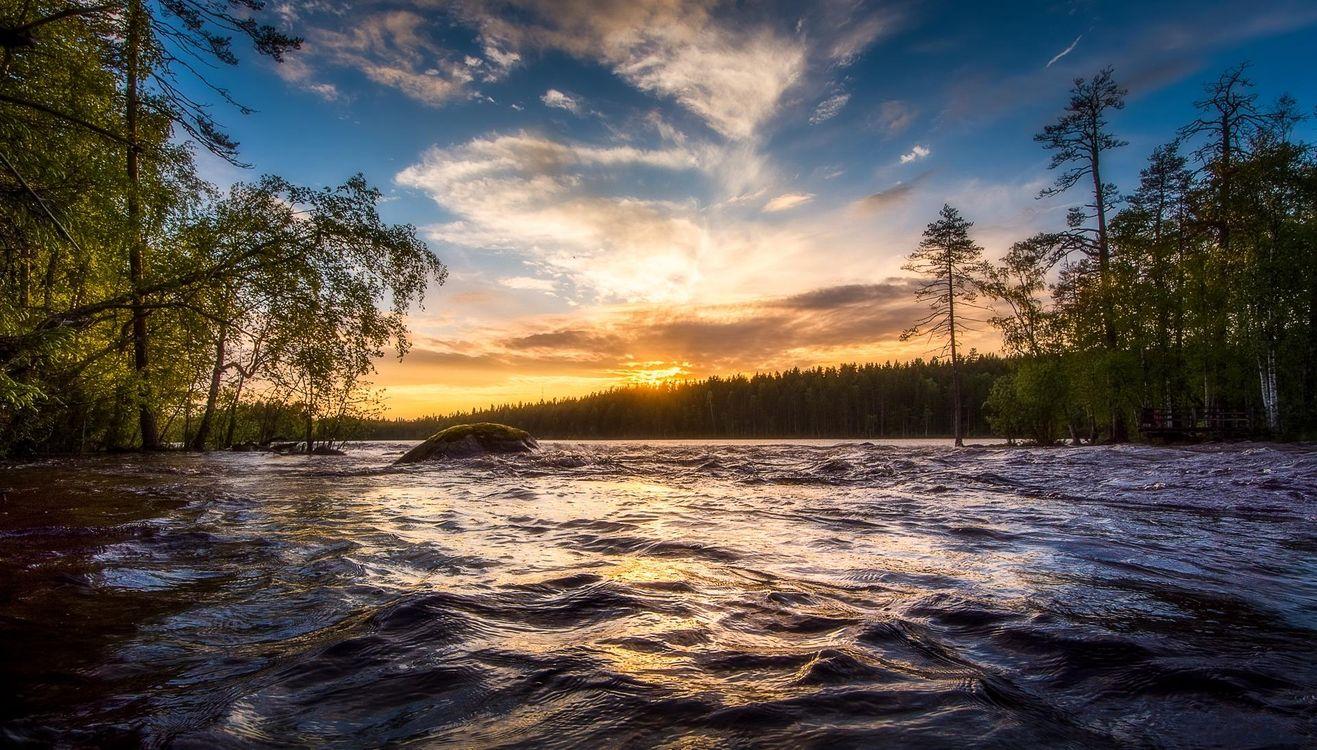 Картинка закат, река, лес, деревья, пейзаж, Финляндия на рабочий стол. Скачать фото обои пейзажи
