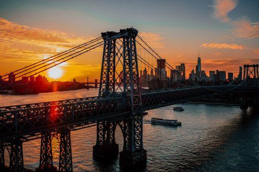 Нью-Йорк, США, мост, рассвет, new york