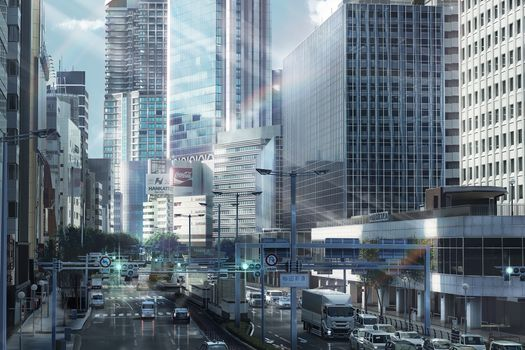 Photo free anime cityscape, buildings, skyscrapers