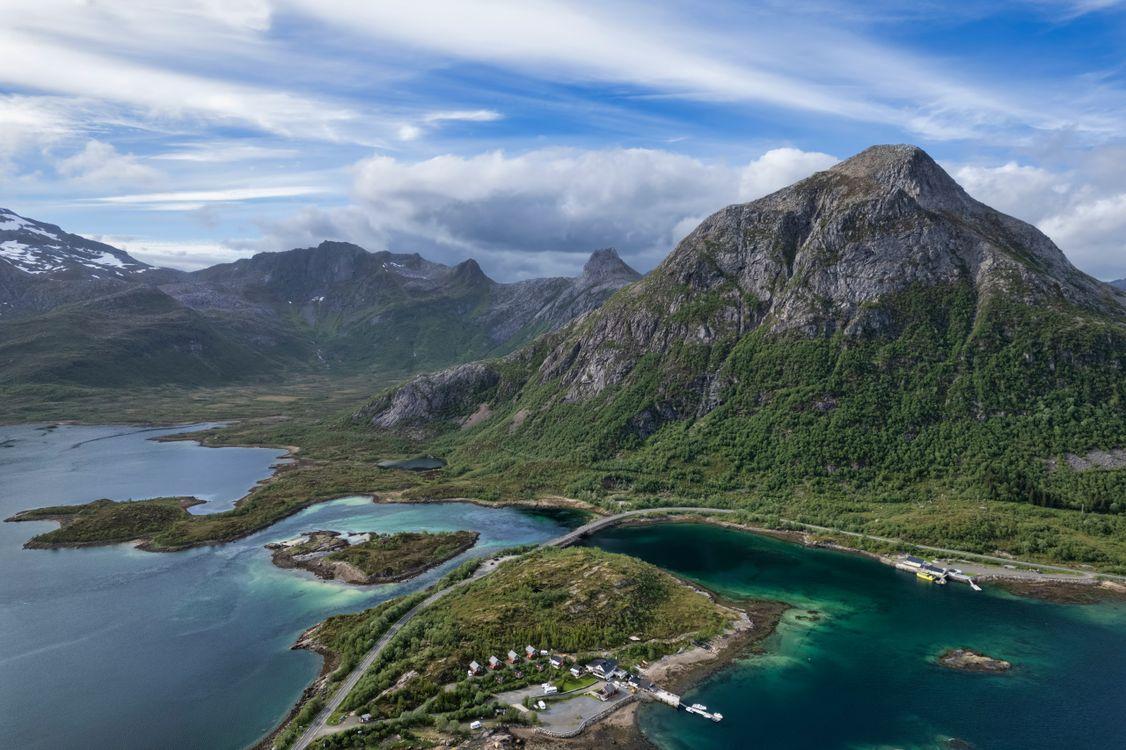 Фото пейзажи Лофотенские острова горы Норвегии - бесплатные картинки на Fonwall