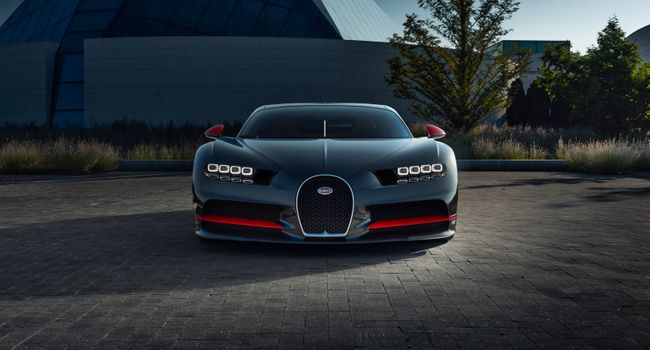 Photo free bugatti Chiron front view, digital design, pavement