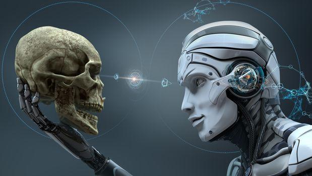 Cyborg looks at human skull