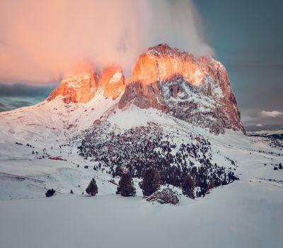 Фото бесплатно горы, снег на горах, зима