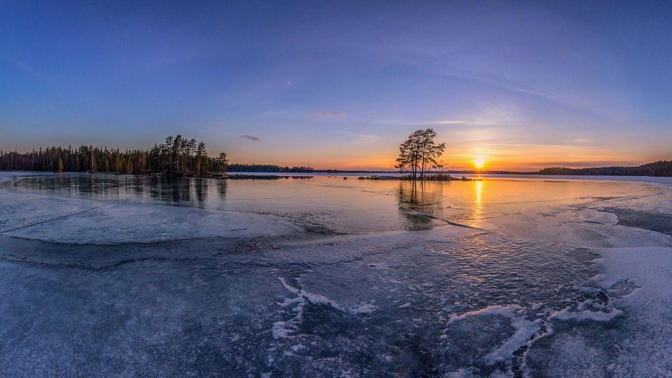 Фото бесплатно закат, озеро, лёд, деревья, Финляндия, пейзаж, пейзажи