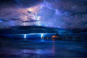 Бесплатные фото море,ночь,берег,пирс,свечение,гроза,молния