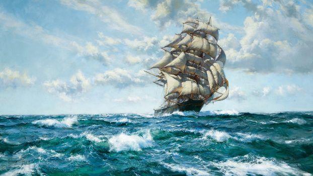 Фото бесплатно парусный корабль, океан, облака