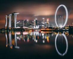 Бесплатные фото сингапур,небоскребы,здание,берег,ночь,singapore,skyscrapers