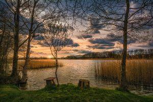 Бесплатные фото закат,озеро,деревья,берег,пейзаж
