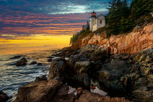 Photo free Bass Harbor Lighthouse, штат Maine, sunset
