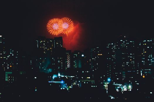 Photo free city, salute, fireworks