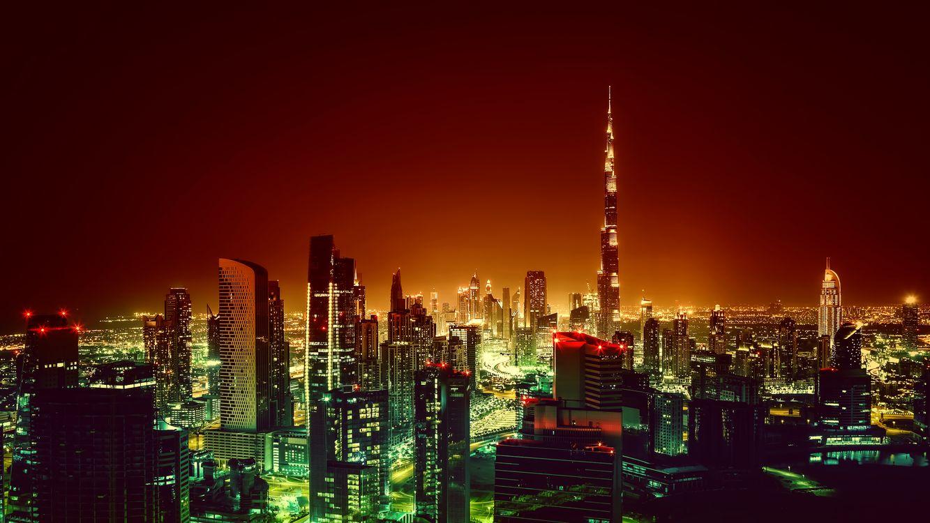 Фото бесплатно городской пейзаж, ночь, пейзаж, фотография, огни, дубай, бурдж халифа, город