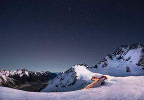 Бесплатные фото Новая Зеландия,ночь,хижина,Aoraki,Гора Кука,Аораки,зима