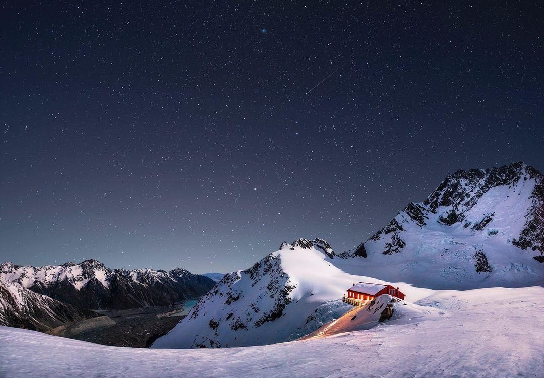 Фото бесплатно Новая Зеландия, ночь, хижина - на рабочий стол