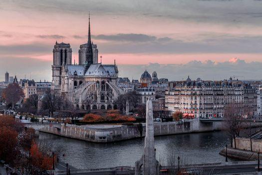 Заставки закат, Notre Dame, архитектура