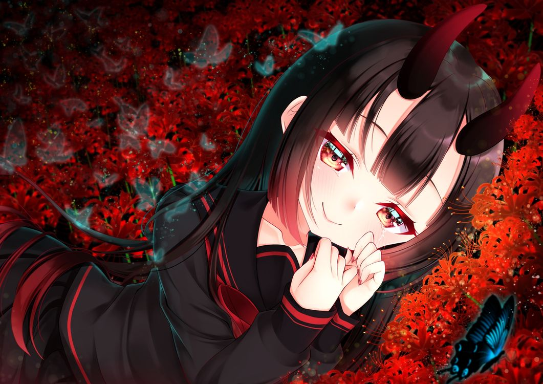 Фото аниме девушка рога черные волосы - бесплатные картинки на Fonwall