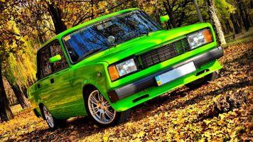 Фото бесплатно машины, ВАЗ 2105, листья
