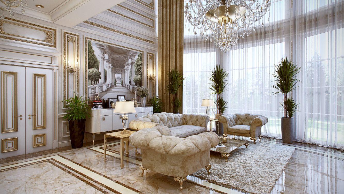 Фото бесплатно комната, диван, картина, люстра, цветы, столик, гостиная, кресла, интерьер