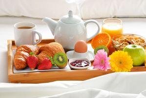 Фото бесплатно завтрак, кофе, фрукты