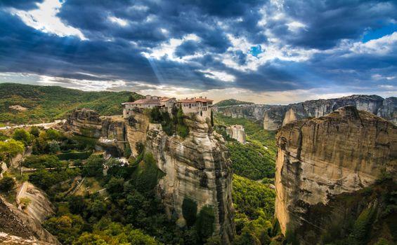 Бесплатные фото природа,пейзаж,голубое,небо,Греция,Каламбак