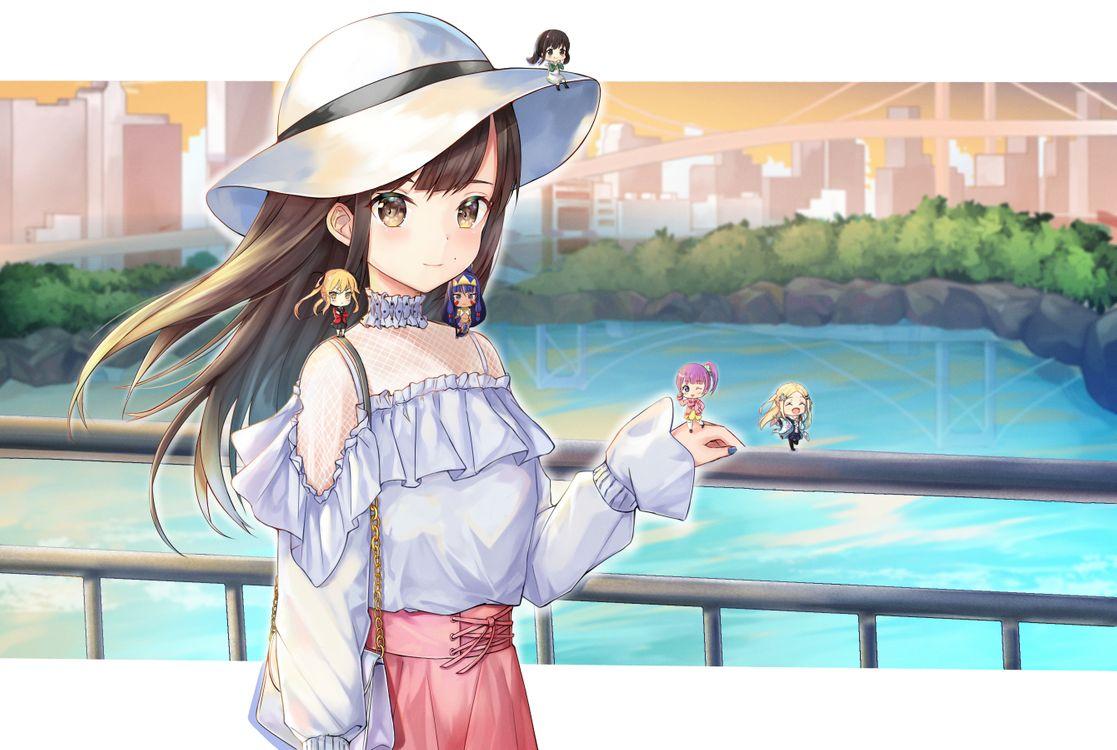 Фото бесплатно аниме девушки, чиби, каштановые волосы - на рабочий стол