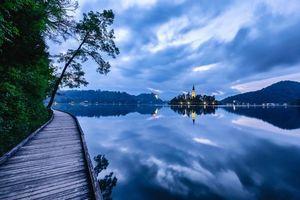 Бесплатные фото Bled,Bled Lake,Озеро Блед,Остров Блед,Словения,закат,пейзаж