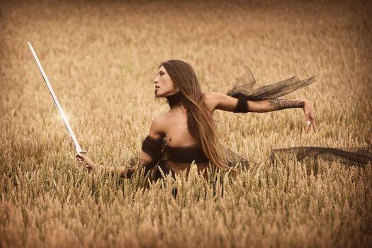 Фото бесплатно поза, эмилия Скай, девушка-самурай