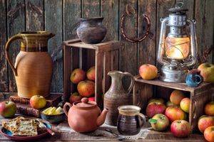 Бесплатные фото лампа, яблоки, фрукты, чайник, натюрморт
