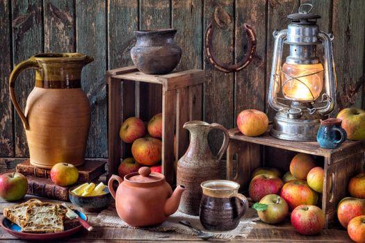 Photo free lamp, apples, fruit