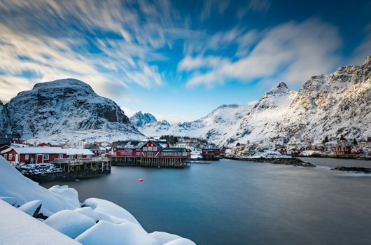 Фото бесплатно горы Норвегии, горы, дома норвежского типа