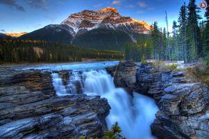 Фото бесплатно Водопады атабаска, национальный парк Джаспер, Канада