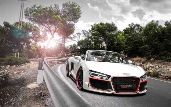 Photo free Audi R8, white, road