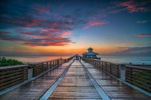 Фото бесплатно море, закат, мост