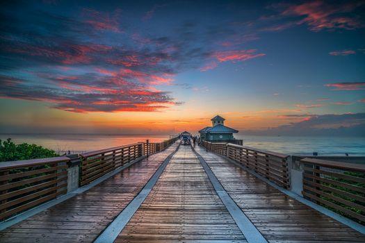 Бесплатные фото Florida,закат,море,пирс,мост,пейзаж