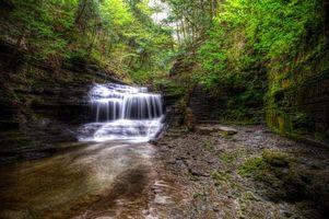 Бесплатные фото водопад, скалы, деревья, природа, пейзаж