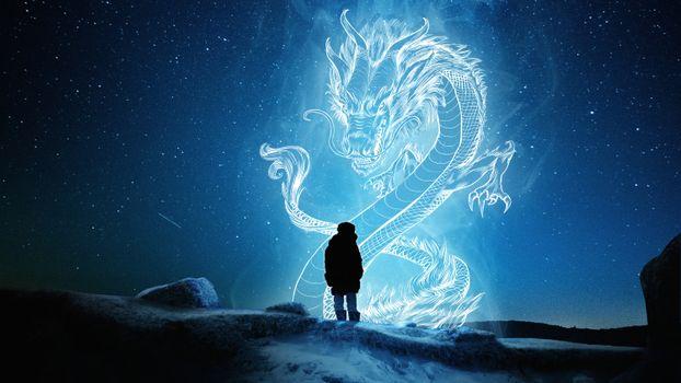 Фото бесплатно силуэт дракона, звезды, фантастическое существо