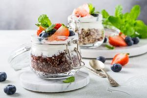 Обои десерт, ягоды, клубника, мята
