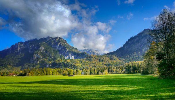 Фото бесплатно луг, замок, пейзаж