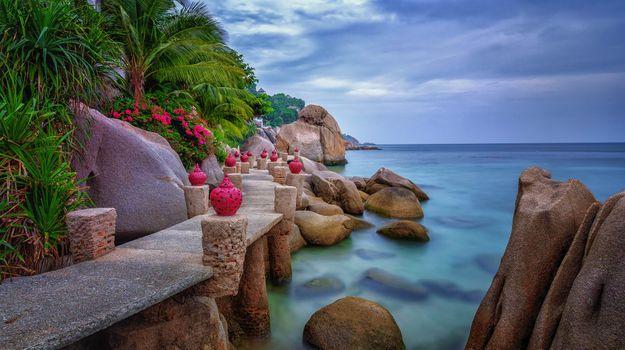 Бесплатные фото Остров Кох Тао,Таиланд,море,океан,скалы,камни,ваза,цветы,деревья,пейзаж
