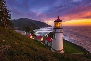 Photo free lighthouse of the Oregon coast, sea, sunset