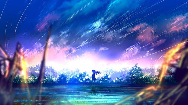 Заставки аниме Девочка, падающих звезд, живописный