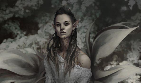 Заставки фантазийная женщина, тату, эльфийские уши