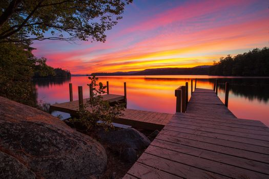 Picture of squam lake sunset, new England