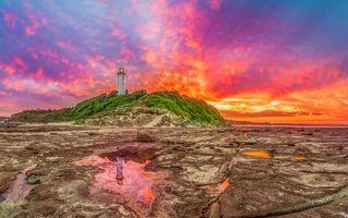 Бесплатные фото Norah Head Light - активный маяк,Нора,Новый Южный Уэльс,Австралия,закат